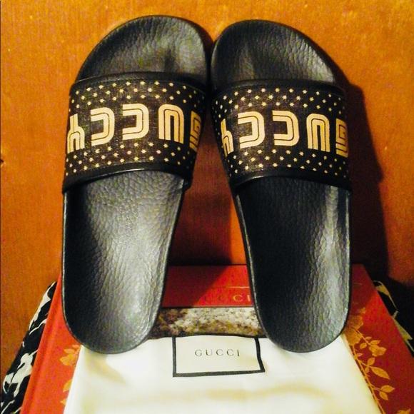 6a81edd8b944 Gucci Shoes - Authentic Gucci 2018 Pursuit Star Slide Sandals!